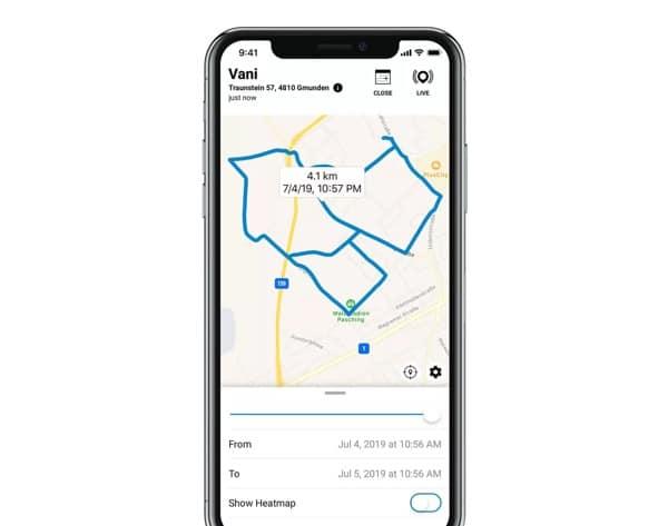 Historique localisation collier GPS Tractive